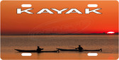 Kayak Sunset License Plate Tag