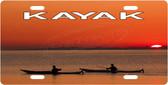 Kayak Sunset License Plate Tag