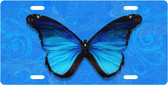 Blue Butterfly License Plate Tag