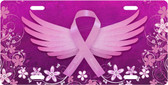 Breast Cancer Wings License Plate Tag