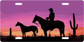 Cowboy Sunset License Plate Tag