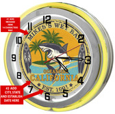 "Large 18"" Personalized Beach Bar Clock with Yellow Neon Outer Ring"