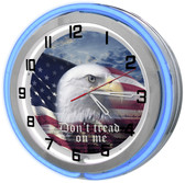 "Large 18"" Patriotic Eagle Clock with Blue Neon Outer Ring"
