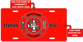 Customized Fire Dept License Plate Tag