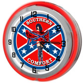 "Large 18"" Southern Pride Clock with Red Neon Outer Ring"