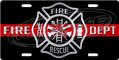 Firefighter Symbol License Plate Tag