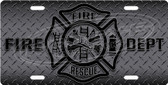 Firefighter Diamond plate License Plate Tag