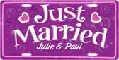 Just Married License Plate Tag