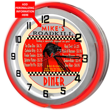 "Large 18"" Personalized Road kill Diner Clock with Red Neon Outer Ring"