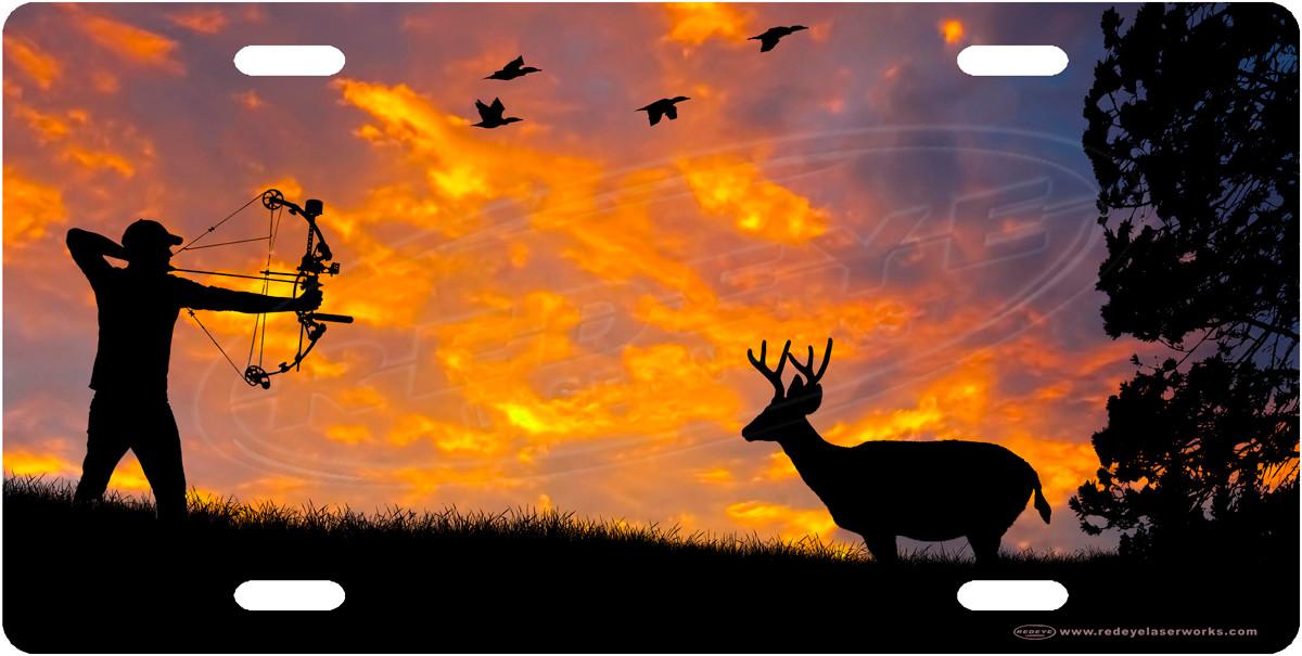 Bowhunter License Plate Deer Hunting