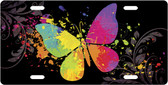Painted Butterfly License Plate Tag
