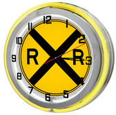 "Large 18"" Railroad Crossing Clock with Yellow Neon Outer Ring"