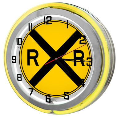 """Large 18"""" Railroad Crossing Clock with Yellow Neon Outer Ring"""