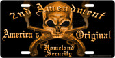 Second Amendment Skull License Plate Tag