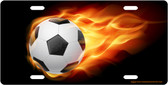 Flaming Soccer Ball License Plate Tag
