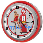 Gas Station Pump Girl Red Neon Outer Ring