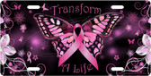 Breast Cancer Butterfly License Plate Tag