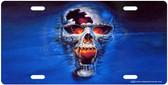 Web Skull License Plate Tag