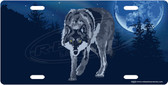 Night Moon Wolf License Plate Tag