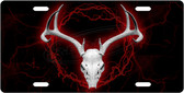 Red Deer Skull License Plate Tag