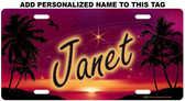 Personalized Evening Sunset License Plate Tag