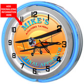 Personalized Pilots Tavern Clock sign with Blue outer ring