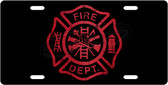 Red Firefighter Symbol License Plate Tag