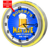 Large Personalized Man Cave Yellow Double Neon Clock