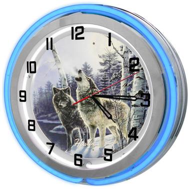 Wolves Neon Clock