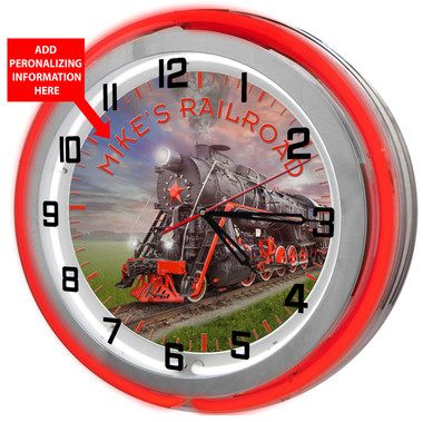 Large locomotive red double neon clock