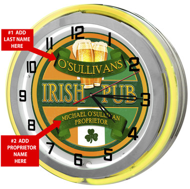 Large Irish Pub Neon Yellow Clock