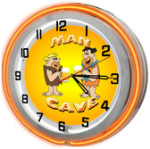 Flintstones Man Cave Neon Orange Clock