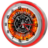 Red Firefighter Neon Clock