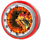 Red Firefighter Oath Red Neon Clock