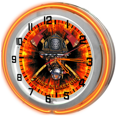 Orange FIrefighter Helmet Neon Clock