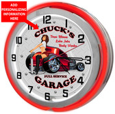 Red Neon Garage Clock