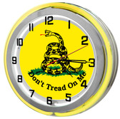Yellow Don't Tread On Me Neon Clock
