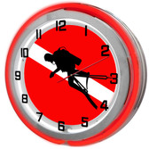Diver Red Neon Clock