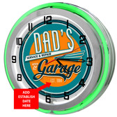 Dad's Garage Green Neon Clock