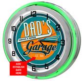 Dad's Garage Green Neon Clock