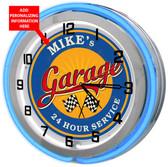 Blue Neon Garage Clock
