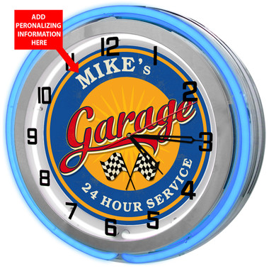 Blue Neon Garage Clock