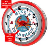 Red Crab Shack Neon Clock