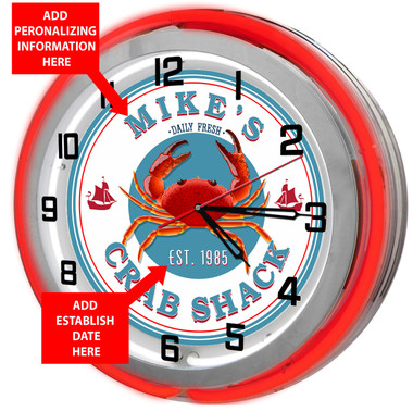 Red Crab Shack Neon Clock