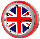 Red British Flag Neon Clock