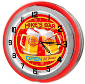 Home Bar Red Neon Clock