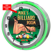 Pool Room Green Neon Clock