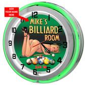 Pool Room Green Neon Clock
