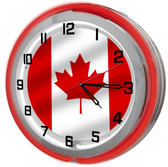 Canadian Flag Red Neon Clock
