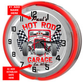 Hot Rod Garage Red Neon Clock